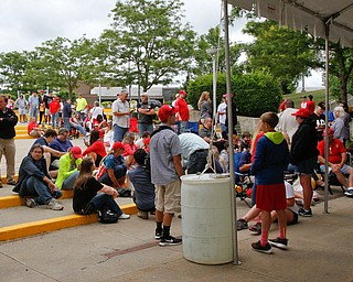 ROBERT K. YOSAY  | THE VINDICATOR..TRUMP VISIT -  a small but slowly growing group of people wait outside of Covelli as the 7 pm visit of President Donald Trump.