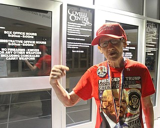Pat Morgan, of NYC, was outside the Covelli Centre at midnight waiting for Trump Rally.