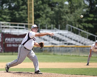 Youngstown Astros  Gill Geisel (31) pitches during an over 50 baseball game between the Boardman Fog and Youngstown Astros at Boardman High School baseball field, Sunday, July 16, 2017 in Boardman...(Nikos Frazier | The Vindicator)