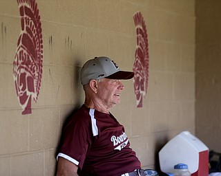 Boardman Fog  John Mazur (11) watches the game from the dugout during an over 50 baseball game between the Boardman Fog and Youngstown Astros at Boardman High School baseball field, Sunday, July 16, 2017 in Boardman...(Nikos Frazier | The Vindicator)