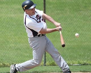 Youngstown Astros  Tom Murphy (29) bats during an over 50 baseball game between the Boardman Fog and Youngstown Astros at Boardman High School baseball field, Sunday, July 16, 2017 in Boardman...(Nikos Frazier | The Vindicator)