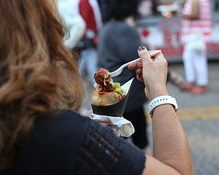 A meatball bread cone from LaRocca during the Greater Youngstown Italian Festival, Saturday, August 5, 2017 in Downtown Youngstown...(Nikos Frazier | The Vindicator)