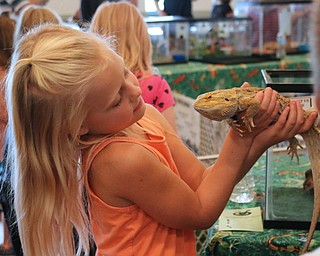 Makenna Saville (6) of Poland holds a bearded dragon during the Reptile and Amphibian show at the Mill Creek Farm in Canfield on Sunday afternoon.   Dustin Livesay     The Vindicator  8/6/17  Canfield