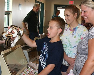 L-R) Dylan Washington (8) is unsure about petting a snake while his sister Jocelyn (14) and mother Charity Washington all of Hubbard laugh during the Reptile and Amphibian show at the Mill Creek Farm in Canfield on Sunday afternoon.   Dustin Livesay     The Vindicator  8/6/17  Canfield