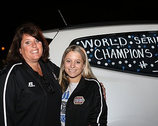 Janeen Lattanzio and Carlie Lattanzio pose for a photo in front of their car as they wait for the champions at Poland High School as the Softball Little League World Series Champions return home, Sunday, August 6, 2017 in Poland...(Nikos Frazier | The Vindicator)