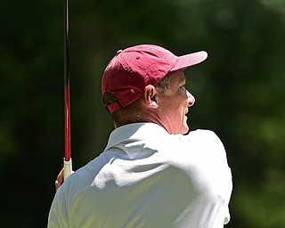 BOARDMAN, OHIO - AUGUST 18, 2017: Ken Sympson tees off on the 10th hole on the South Course, Friday afternoon during the Vindicator  Greatest Golfer Tournament. DAVID DERMER | THE VINDICATOR