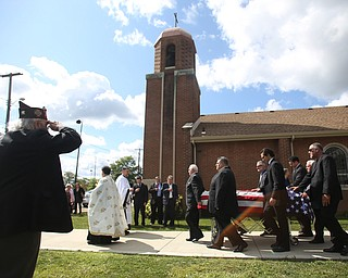 A veteran salutes as the casket bearing former state Sen. Harry Meshel's exits the church, Sept. 9, 2017, at St. Nicholas Greek Orthodox Church in Youngstown...(Nikos Frazier | The Vindicator)