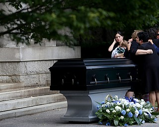 Family members grieve during former state Sen. Harry Meshel's funeral, Sept. 9, 2017, at Belmont Park Cemetery in Youngstown...(Nikos Frazier | The Vindicator)