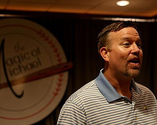 Sean Casey, former Cincinnati Reds and Boston Red Sox player, speaks to the media, Wednesday, Sept. 13, 2017, at the Lake Club in Poland. ..(Nikos Frazier | The Vindicator)..