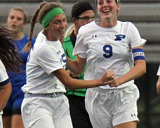 William D. Lewis the Vindicator  Polands Maggie Sebest(9) gets congrats from Alexis Demain(25) after scoring during 9-13-17 action in Poland/
