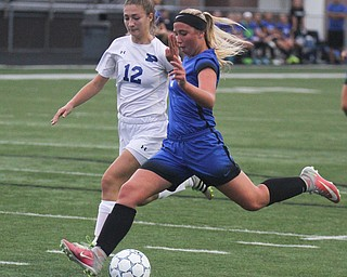 William D. Lewis the Vindicator  Lakeview's Reagan Roenberger(9) moves the ball around Polands Sarah Boccieri(12)) to score  during 9-13-17 action in Poland/