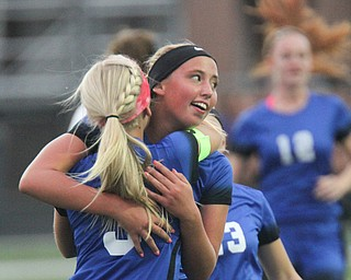 William D. Lewis the Vindicator  Lakeview's Reagan Roenberger(9) gets congrats from Sam Yanci(3) after scoring during 9-13-17 action in Poland/