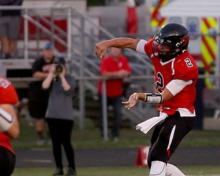 Canfield quarterback Vinny Fiorenza(2) throws in the first half as Struthers takes on Canfield, Friday, Sept. 22, 2017, at Canfield High School in Canfield. ..(Nikos Frazier | The Vindicator)..