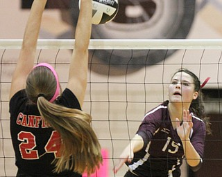 William D. Lewis The Vindicator  Canfield's Marissa Yourstowsky(24) blocks a shot from Boardman's Kaylin Burkey(15) during 10-9-17 action at Boardman.