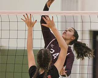 William D. Lewis The Vindicator  Canfield's Alexis Metille(21) blocks a shot from Boardman's Katie Stamp(24)) during 10-9-17 action at Boardman.