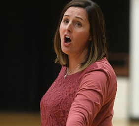 Wright State head coach Susan Clements argues with an official during the third set as Wright State University takes on Youngstown State University, Wednesday, Oct. 11, 2017, at the Beeghly Center at Youngstown State University in Youngstown. The Raiders won the set 3-1, loosing set 1 30-32 and winning set 2 25-16, set 3 25-17 and set 4 25-22...(Nikos Frazier | The Vindicator)..