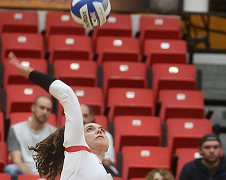 Youngstown State University Outside Hitter Marketa Plesingrova (6) spikes the ball during the third set as Wright State University takes on Youngstown State University, Wednesday, Oct. 11, 2017, at the Beeghly Center at Youngstown State University in Youngstown. The Raiders won the set 3-1, loosing set 1 30-32 and winning set 2 25-16, set 3 25-17 and set 4 25-22...(Nikos Frazier | The Vindicator)..