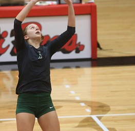 Wright State University setter Maddie Lohmeier (1) sets the ball during the fourth set as Wright State University takes on Youngstown State University, Wednesday, Oct. 11, 2017, at the Beeghly Center at Youngstown State University in Youngstown. The Raiders won the set 3-1, loosing set 1 30-32 and winning set 2 25-16, set 3 25-17 and set 4 25-22...(Nikos Frazier | The Vindicator)..