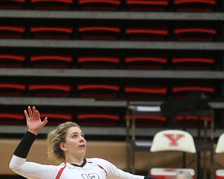 Youngstown State University Outside Hitter Margaux Thompson (12) goes up for the spike during the fourth set as Wright State University takes on Youngstown State University, Wednesday, Oct. 11, 2017, at the Beeghly Center at Youngstown State University in Youngstown. The Raiders won the set 3-1, loosing set 1 30-32 and winning set 2 25-16, set 3 25-17 and set 4 25-22...(Nikos Frazier | The Vindicator)..