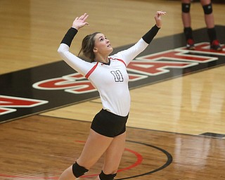 Youngstown State University Setter Heather Splinter (11) serves during the fourth set as Wright State University takes on Youngstown State University, Wednesday, Oct. 11, 2017, at the Beeghly Center at Youngstown State University in Youngstown. The Raiders won the set 3-1, loosing set 1 30-32 and winning set 2 25-16, set 3 25-17 and set 4 25-22...(Nikos Frazier | The Vindicator)..