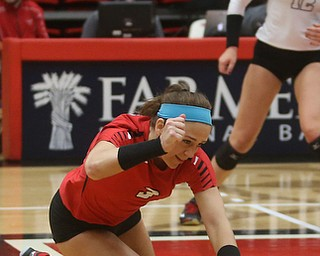 Youngstown State University Libero Lauren Blanco (3) successfully dives the ball during the fourth set as Wright State University takes on Youngstown State University, Wednesday, Oct. 11, 2017, at the Beeghly Center at Youngstown State University in Youngstown. The Raiders won the set 3-1, loosing set 1 30-32 and winning set 2 25-16, set 3 25-17 and set 4 25-22...(Nikos Frazier | The Vindicator)..