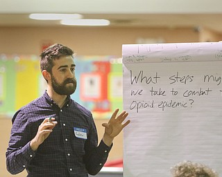 ROBERT K. YOSAY  | THE VINDICATOR..Andrew Rockway moderator.. leads the discussion of opiods.... First of three community meetings on the opioid epidemic, led by Your Voice Ohio. We are working with WFMJ and the WarrenTribune Chronicle -this was held at the Boys and Girls Club...-30-