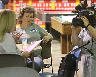 ROBERT K. YOSAY  | THE VINDICATOR.. Brenda Linert Editor for The Tribune listen to Mona Alexander from WFMJ..First of three community meetings on the opioid epidemic, led by Your Voice Ohio. We are working with WFMJ and the WarrenTribune Chronicle -this was held at the Boys and Girls Club...-30-
