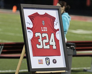 A jersey with slain Girard PD officer Justin Leo's badge number was on display during the Girard Liberty football game.