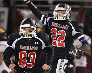 William D. Lewis The Vindicator Girard'sDonald Miller(63) and Nino Mayle(22) react after Girar recovered an onside kick during 1rst qtraction 10272017 in Girard.