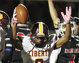 William D. Lewis The Vindicator Liberty's Brian Maddox(8) reacts after scoring during 2nd qtr action 10272017 in Girard.