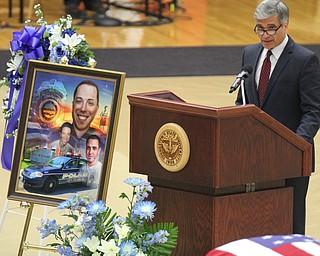 William D Lewis The vindicator  Girard Mayor James Melfi speaks during Justin Leo Funeral.10292017