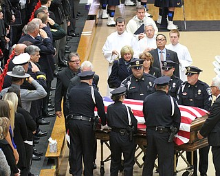 William D Lewis The vindicator  Pallbearers bring the casket of Justin Leo into YSU Beegley Center for funeral service 10-29-17.
