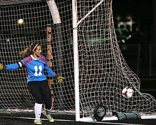 Springfield Local goalie Lex Slike (11) looks back as the ball sails into the back of the net during the first half as Elyria Catholic High School takes on Springfield Local High School in the Division III Region 9 Regional Semi-Finals, Tuesday, Oct. 31, 2017, at Green Memorial Stadium in Uniontown. Elyria won 6-0...(Nikos Frazier | The Vindicator)..