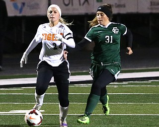 e2.Elyria Catholic midfielder Meghan Janscura (2).e3.Elyria Catholic forward Tori antu (3).e4.Elyria Catholic forward Emilie Uhnak (4).e5.Elyria Catholic defender Keileigh Hayes (5).e7.Elyria Catholic midfielder Avery Doll (7).e8.Elyria Catholic defender Lauren McIver (8).e9.Elyria Catholic midfielder Maddy Knoth (9).e10.Elyria Catholic defender Sadie Hutsenpillar (10).e12.Elyria Catholic forward Ryan Kunkle (12).e14.Elyria Catholic goalie Cam Resor (14).e15.Elyria Catholic defender Abby Birsic (15).e16.Elyria Catholic midfielder Alexa Oberg (16).e21.Elyria Catholic defender Sarah Fenik (21).e22.Elyria Catholic defender Riley Doll (22).e23.Elyria Catholic goalie Megan Schiebelhut (23).e24.Elyria Catholic midfielder Makenna Hodges (24).e25.Elyria Catholic forward Trinity Velazquez (25).e31.Elyria Catholic defender Riana Kelley (31).e32.Elyria Catholic midfielder Meredith Flanagan (32).e37.Elyria Catholic forward Delaney Stringer (37).Springfield Local midfielder Cierra Latronica (24) drives towards the goal against Elyria Catholic defender Riana Kelley (31) during the first half as Elyria Catholic High School takes on Springfield Local High School in the Division III Region 9 Regional Semi-Finals, Tuesday, Oct. 31, 2017, at Green Memorial Stadium in Uniontown. Elyria won 6-0...(Nikos Frazier | The Vindicator)..