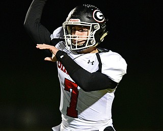 CORTLAND, OHIO - NOVEMBER 3, 2017: Girard's Mark Waid throws a pass during the first half of the OHSAA playoff game, Friday night at Lakeview High School. DAVID DERMER   THE VINDICATOR