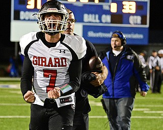 CORTLAND, OHIO - NOVEMBER 3, 2017: Girard's Mark Said celebrates while running off the field after Girard defeated Lakeview 33-31 in their  OHSAA playoff game, Friday night at Lakeview High School. DAVID DERMER   THE VINDICATOR