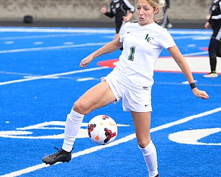 Lake Catholic midfielder Ella Hadley (1) regains control of the ball during the first half as Lake Catholic High School takes on Canfield High School in the Division II Regional Final, Saturday, Nov. 4, 2017, at Gilcrest Field at Portage Community Bank Stadium in Ravenna, Ohio. Lake won 2-0...(Nikos Frazier | The Vindicator)..