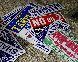 ROBERT K YOSAY  | THE VINDICATOR..Discarded sign.. in a pile at the Board of Elections..-30-