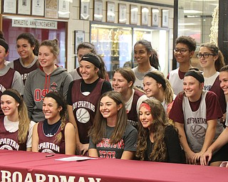 William D. Lewis The Vindicator Signing day at Boardman HS 11-8-17 found Jenna Vivo, center front in YSU shirt, with basketball team and classmates.