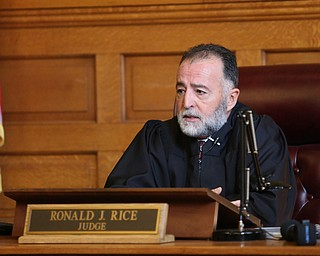Judge Ronald Rice asks Nasser Hamad about his decision to attend court in his jail house jump suit, Wednesday, Nov. 8, 2017, at the Trumbull County Court House in Warren...(Nikos Frazier | The Vindicator)
