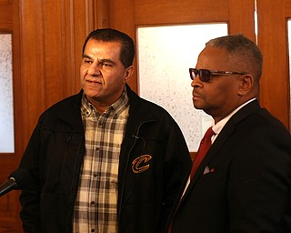 Nasser Hamad's brother, Mike Hamad(left) and Atty. Geoffrey Oglesby talk with members of the media after a jury sentenced Nasser to life in prison with parole eligibility after 30 years, Wednesday, Nov. 8, 2017, at the Trumbull County Court House in Warren. Nasser Hamad was sentenced to life in prison with parole eligibility after 30 years. ..(Nikos Frazier | The Vindicator)