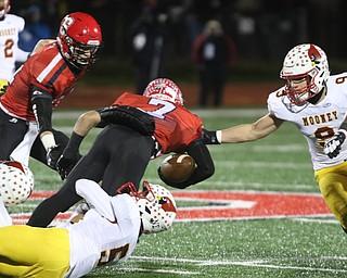 ROBERT K YOSAY  | THE VINDICATOR..Cardinal Mooney vs Steubenville Big Red at Salem Stadium..CM#9 Jason Santisi and CM#5 Nico Marchionda stops SBR #7 Gino Pierro at the line..-30-