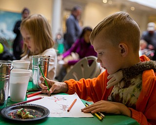 Jamie Jarvis, 8 of Canfield creates his own drawing of Santa Claus at a coloring activity table during the Butler Institute of American Art Museum Family Fun Day on Sunday in Youngstown.