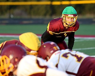 Aniello Buzzacco (14) reads the offense before rushing the ball holder during a post-season practice, Tuesday, Nov. 21, 2017, at South Range High School in Canfield...(Nikos Frazier | The Vindicator)