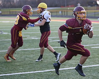 Peyton Remish (44) runs the ball during a post-season practice, Tuesday, Nov. 21, 2017, at South Range High School in Canfield...(Nikos Frazier | The Vindicator)