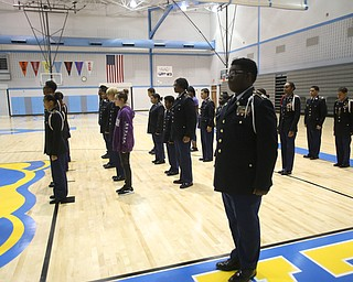 Cadets stand at attention during a J.R.O.T.C drill practice, Thursday, Nov. 16, 2017, at East High School in Youngstown...(Nikos Frazier | The Vindicator)