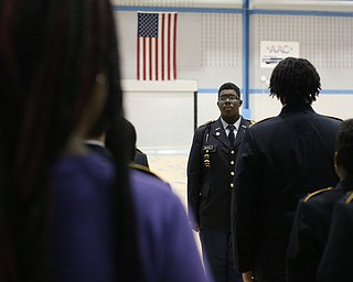Cadet 1st. Lt. J'Quan Mitchell leads the marches during a J.R.O.T.C drill practice, Thursday, Nov. 16, 2017, at East High School in Youngstown...(Nikos Frazier | The Vindicator)