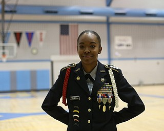 Cadet Cpt. Rosezena Figueroa poses for a photo during a J.R.O.T.C drill practice, Thursday, Nov. 16, 2017, at East High School in Youngstown...(Nikos Frazier | The Vindicator)