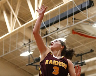 South Range's Izzy Lamparty (3) goes up for a layup during the first quarter of the Toni Ross Spirit Foundation basketball tournament, Saturday, Nov. 25, 2017, at Howland High School in Howland. South Range won 55-51...(Nikos Frazier | The Vindicator)..