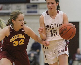 William d. Lewis the Vindicator   Boardman's Reagan Burkey(15) and Mooney's CJ sapp (32) during 11292017 action at Boardman.